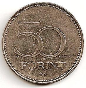 Vengrija. 50 forintų (  2007 ) XF