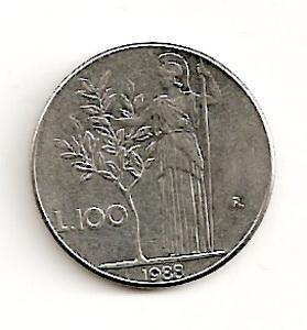 Italija. 100 lyrų ( 1989 ) XF