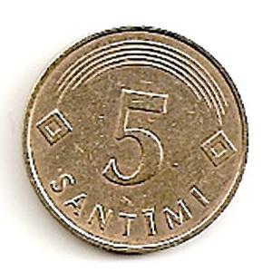 Latvija. 5 santimai ( 1992 ) XF