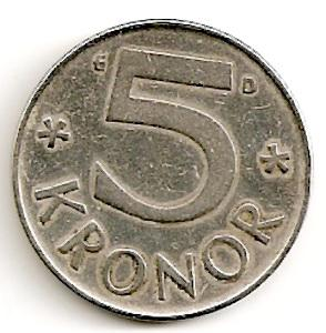 Švedija. 5 kronos ( 1977 ) XF