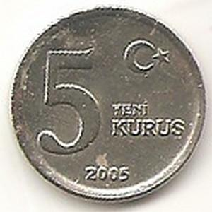 Turkija. 5 naujieji kurušai ( 2005 ) XF