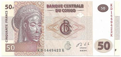 Kongo DR. 50 frankų (2013 ) AU