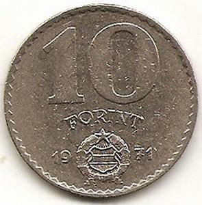 Vengrija. 10 forintų ( 1971 ) XF
