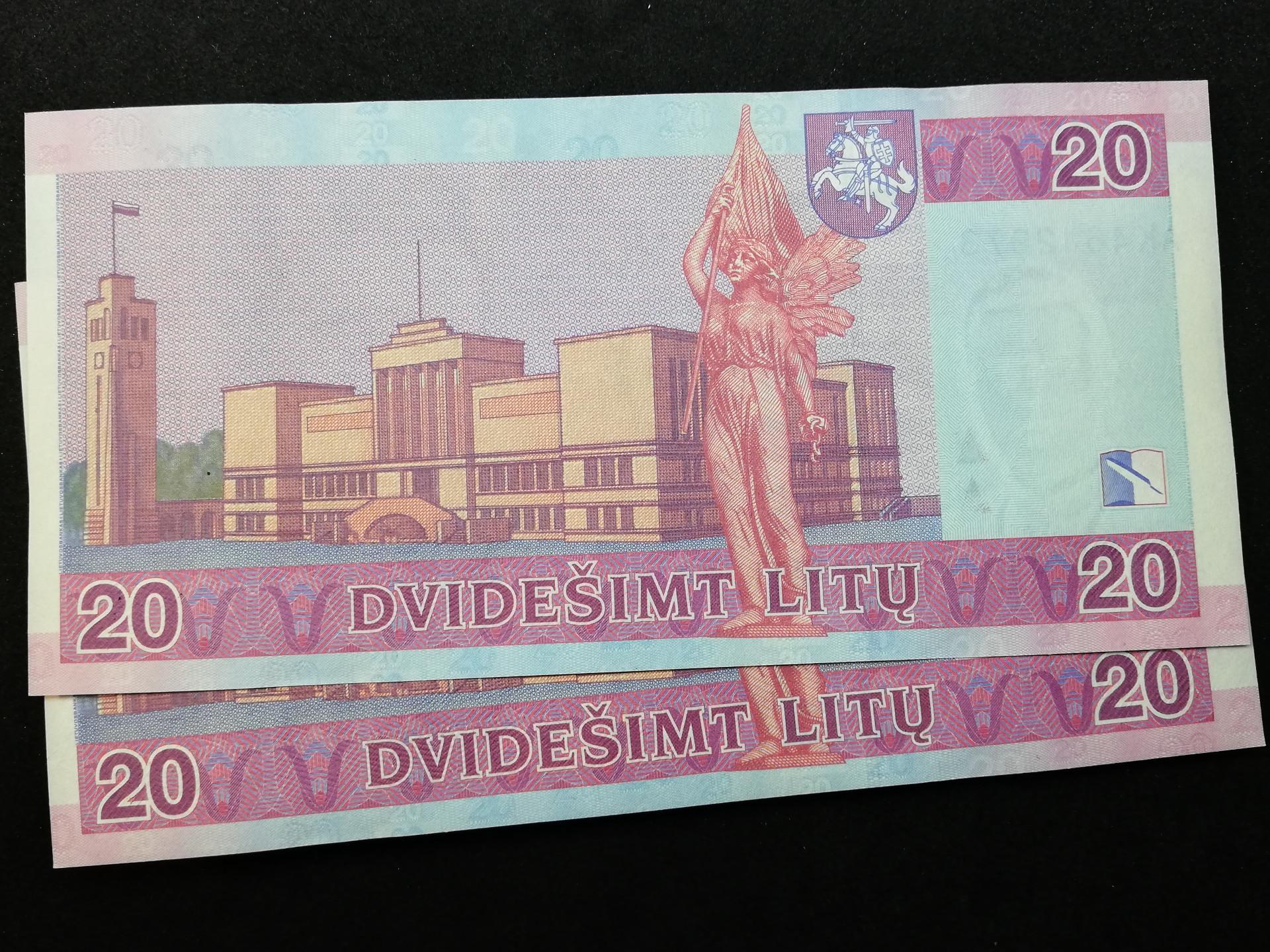 20 Litų Maironis UNC banknotas x2 (nr. vienas po kito)