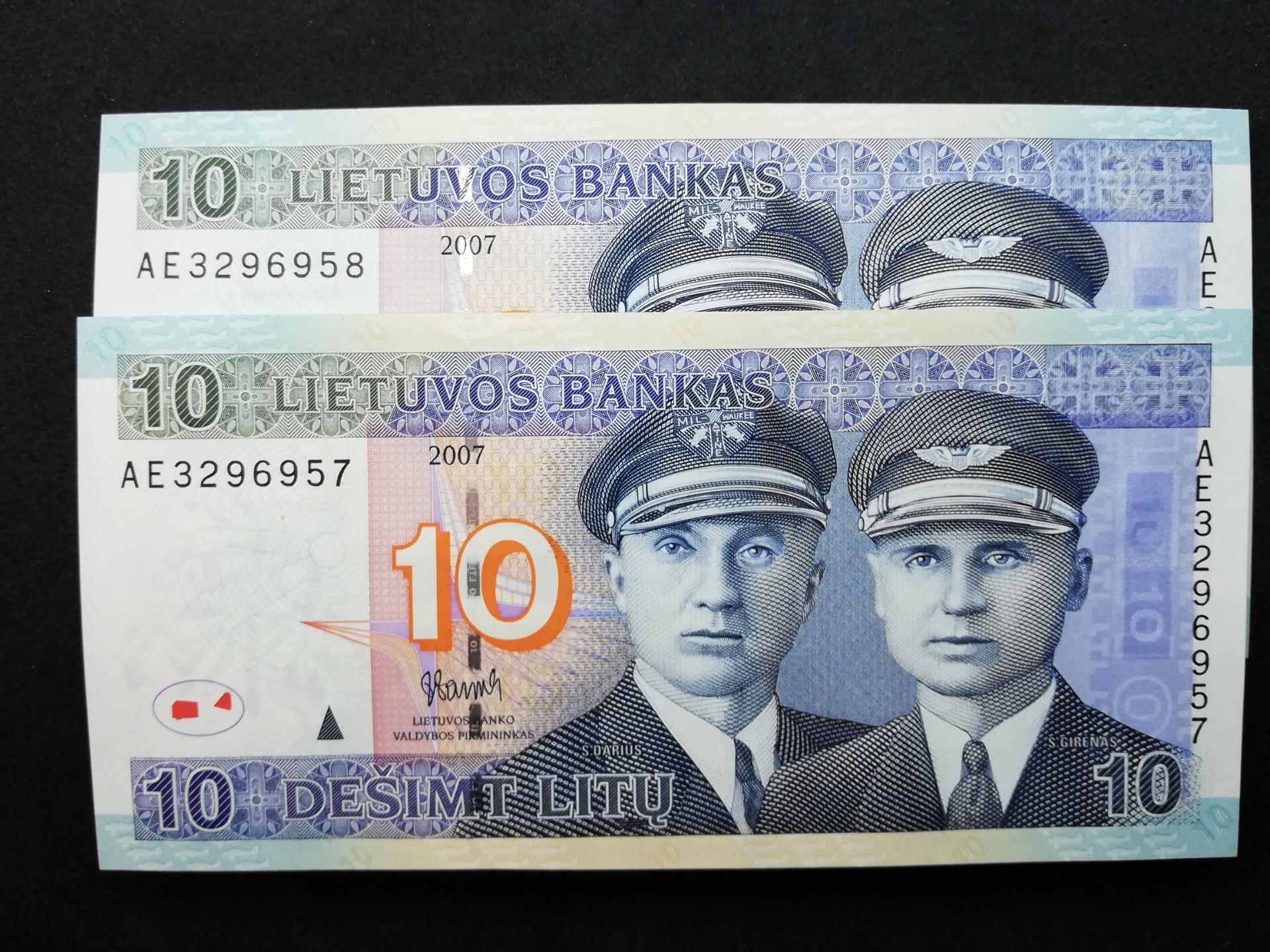 10 Litų Darius ir Girėnas UNC banknotas x2 (nr. vienas po kito)