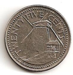 Barbadosas. 25 centai ( 2004 ) XF