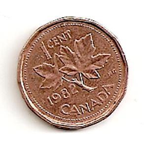 Kanada. 1 centas ( 1989 ) XF