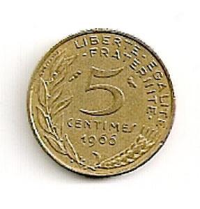 Prancūzija. 5 santimai ( 1996 ) XF