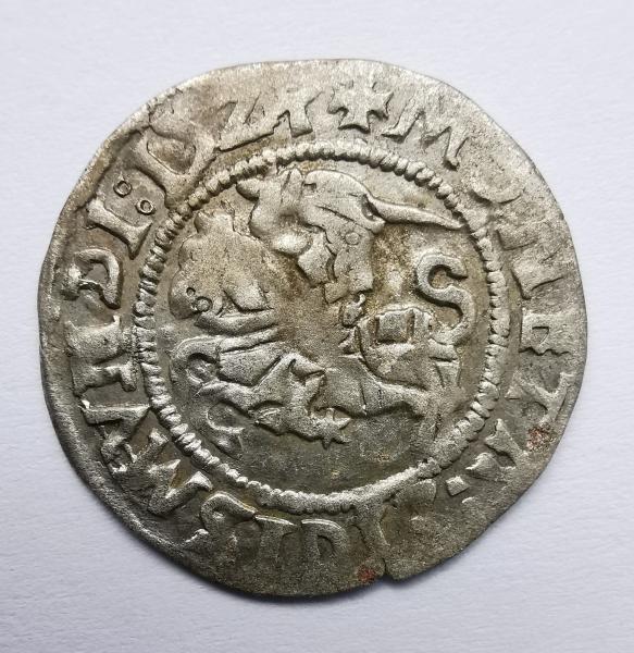 Žygimanto Senojo 1524 pusgrašis skaičius 4 veidrodinis