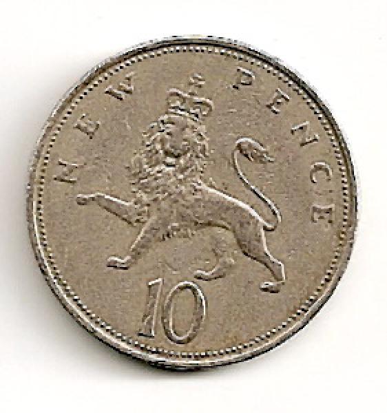 Anglija. 10 naujųjų pensų ( 1969 ) XF