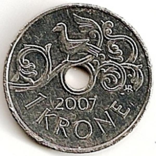 Norvegija. 1 krona ( 2006 ) UNC
