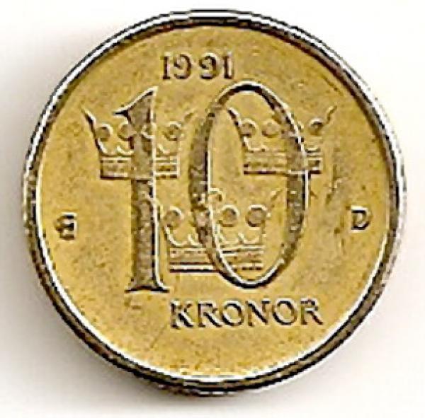 Švedija. 10 kronų ( 1991 ) XF