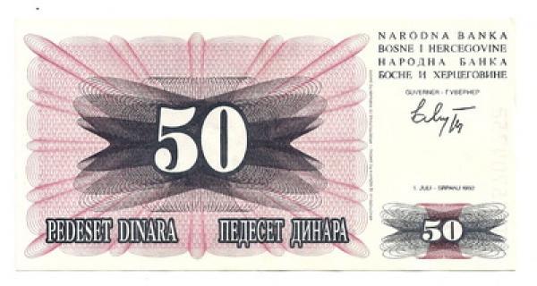 Bosnija ir Hercogovina. 50 dinarų ( 1992 ) UNC
