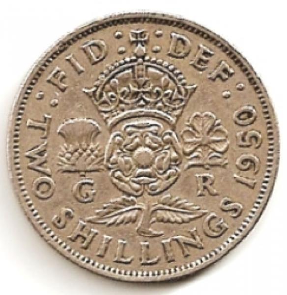 Anglija. 2 šilingai ( florinas ) ( 1951 ) XF